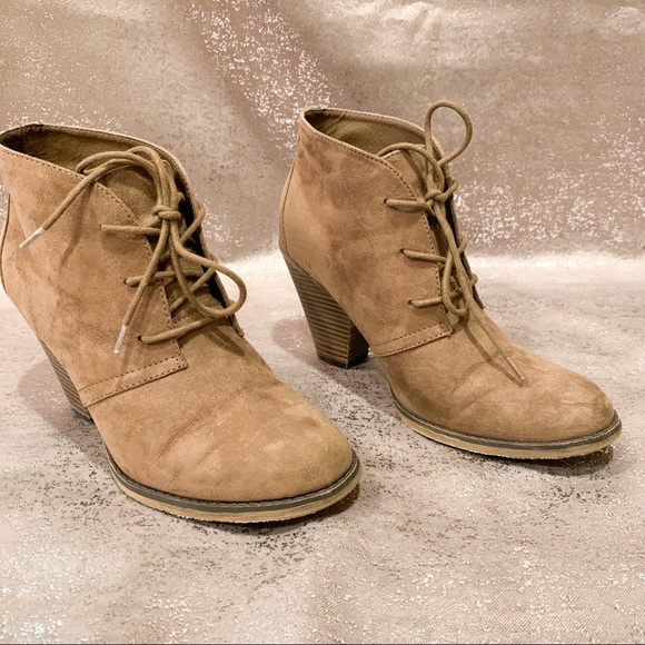Shayna Taupe Suede Tie Bootie Size 85